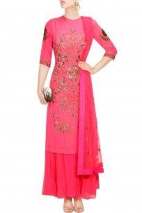 Neon pink jaal embroidered kurta and pleated palazzo set