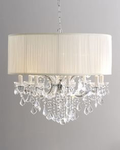 Large Brentwood Crystal Chandelier with Drum Shade traditional-chandeliers