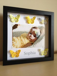 Butterfly, 3d paper art, photo frame, 4x6, perfect for your nursery, customize with colors and information. $35.00, via Etsy.