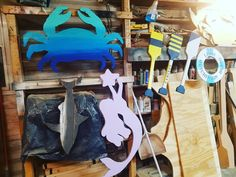 Lots of goodies going out tomorrow. #purple #mermaid #ombre #crab #oars #lifepreserver #shark and more! #lakeshorehome #etsyshop #handmade #etsy #beach #beachdecor #nauticaldecor #coastaldecor