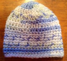 Hand crochet boys white and blue and green beanie hat newborn