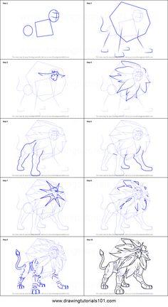 How to Draw Solgaleo from Pokemon Sun and Moon printable step by step drawing sheet : DrawingTutorials101.com