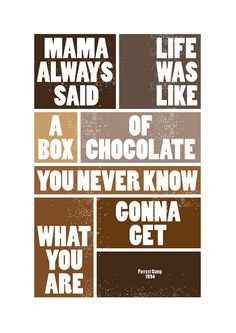 for candy basket or movie basket  Forrest Gump Movie Quote