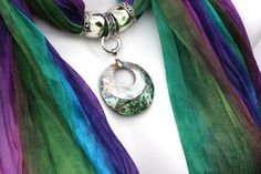 Rainbow Scarves With Jewelry Pendant by RavensNestScarfJewel, $26.00
