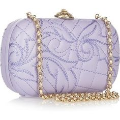 Versace Embroidered leather box clutch