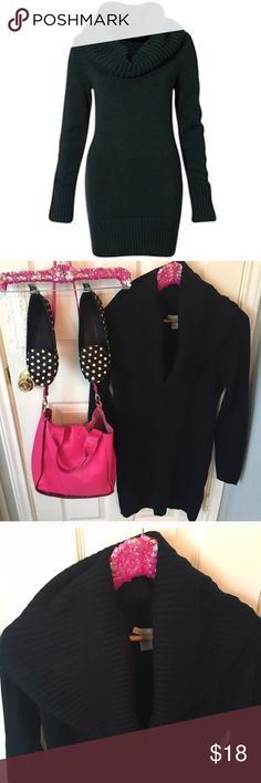 """H&M Basic Black Sweater Dress or Tunic with Cowl! No signs of wear at all. May even be NWOT, I don't remember wearing. Would look perfect with flats or leggings and boots. Size Small, 17"""" across chest, 33"""" length. Beautiful Cowl neck always sits perfectly. I am open to offers! Isabel Marant pour H&M Dresses Long Sleeve"""