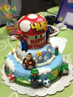 Super mario bithday cake Happy Birthday Cake Images, Bithday Cake, Cupcake Cakes, Cupcakes, Cakes And More, Super Mario, Amazing Cakes, Baked Goods, Birthday Parties