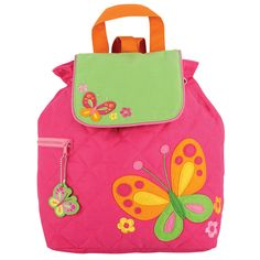 This Stephen Joseph quilted backpack for preschoolers is 100% cotton and machine washable. It has a magnetic snap closure and a fun coordinating zipper pull. This colorfully designed bag is perfect for housing diapers, snacks and their favorite toys.<br><br>The Stephen Joseph Butterfly 12 Inch Quilted Backpack - Pink/Green Features:<br><ul><li>Stylish and functional, the Quilted Backpack by Stephen Joseph is perfect for securely carrying school books</li><br><li>Fully lined…