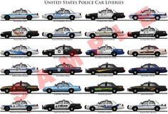 United States police car liveries poster | Unique Car Posters