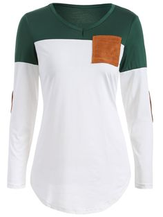 Elbow Patch Color Block T-Shirt in Blackish Green | Sammydress.com