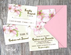 Bohemian wedding invitation printable, Printable wedding invitation almond flowers, Floral birthday invitation, Digital files by Sophie0610Designs on Etsy