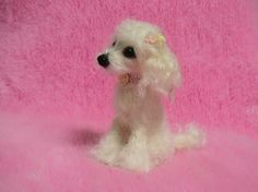 Needle Felted White Poodle Puppy  Miniature von LilyNeedleFelting, ¥30500