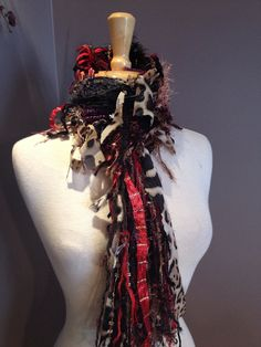 Knit Skinny Scarf - Dumpster Diva Animal instinct Scarf - Multitextural Fringed Knit Cheetah, Gold, Black, Red, Purple Animal Knit Scarf on Etsy, $30.00