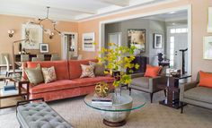 Chenille Sofa Coral and Taupe Great Room