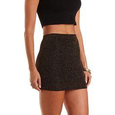 Gold Shimmer Bodycon Mini Skirt: Charlotte Russe