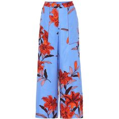 Diane von Furstenberg Floral-Printed Wide-Leg Trousers ($335) ❤ liked on Polyvore featuring pants, blue, floral trousers, floral print pants, wide leg pants, blue trousers and floral print wide leg pants