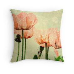 Poppy Throw Pillow Poppies Cushion Pink by PeggyCollinsPhotoArt