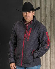 Cinch Men's Heather Gray and Red Bonded Jacket
