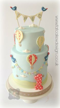 Shabby chic Hot air balloons cake. Bluebirds and bunting.