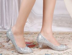 2014 new arrival crystal prom shoes wedding bridal heels silver gold black rhinestone low heels pumps