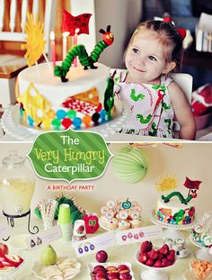He's going to eat a hole in your cake! The Hungry Caterpillar by Eric Carle. (Click through for more party ideas) probably will be Little Lady's 1st bday theme.