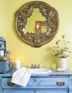 Flea Market Decorating - Country Living mirror from a ceiling medalion Dresser Sink, Bathroom Sink Vanity, Sinks, Bathroom Mirrors, Bathroom Vanities, Yellow Bathrooms, Vintage Bathrooms, Chic Bathrooms, Bathroom Pictures
