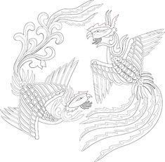 Korean Crafts, Thai Pattern, Chinese Embroidery, Korean Art, Korean Traditional, Line Drawing, Animal Drawings, Adult Coloring, Stencils