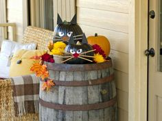 Welcome trick-or-treaters and Halloween guests with a litter of black cat pumpkins. These carve-free kitties are easy to craft, making them a fun project for older children or small kids with a little help from a crafty adult. Get step-by-step instructions.
