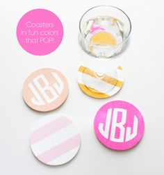 DIY: Monogrammed & Striped Coasters by ForChicSake.com