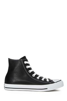 Converse All Star High-Top Sneaker - Black Leather | Shop Play, Girl at Nasty Gal