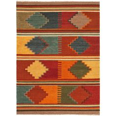 Traditional kilims are given a modern twist with these bright fun flatweaves. Hand woven in wool this rugs are reversible and durable.