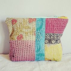 Kantha pouch patchwork pink and turquoise blue by roxycreations
