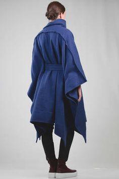 ISSEY MIYAKE | wide cape coat in heavy melange shetland wool | #isseymiyake