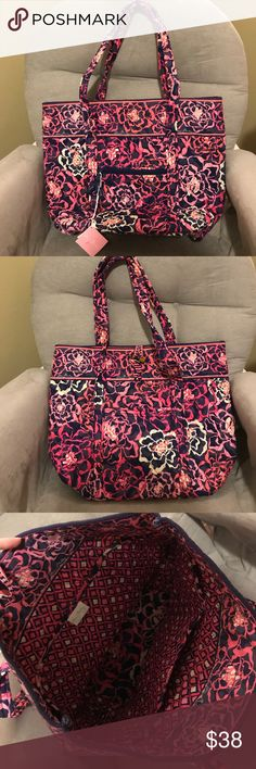 """Vera Bradley Vera Bag Katalina Pink NWT Vera Bradley """"Vera"""" Tote bag in Katalina Pink, new never been used! I bought this to give to my mom for her birthday but she already had something very similar. Beautiful pink and blue print! Asking $38. Smoke free home. Vera Bradley Bags Totes"""
