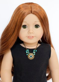 American Girl doll statement necklace - blue and gold by EverydayDollwear on Etsy https://www.etsy.com/listing/219753300/american-girl-doll-statement-necklace
