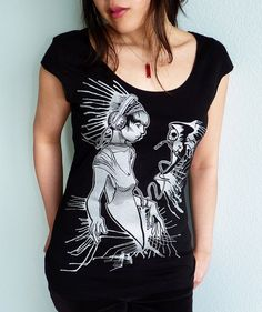 Music is my Lifeline Women's Tshirt  Skull Tee by binarywinter, $26.00