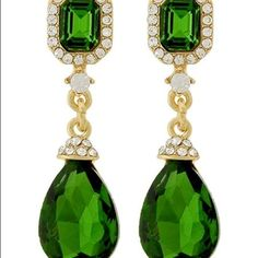 Emerald Earrings Teardrop Rhinestone Dangles These measure just under 1 7/8 inches long. A Perfect Size to compliment your face. 1/2 inch wide at the widest point  Post and Back closures Absolutely Gorgeous Emerald Green Crystal Glass set in goldTone metal Gift Box included............. Lots of Sparkle in Person on these Gorgeous Earrings Jewelry Earrings