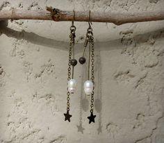 Boho Pearl Dangle Earrings freshwater pearl by ArtifactsEtCetera