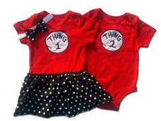 Boy Girl Twin Outfits Thing 1 Thing 2 Onesie by TheTwinShop, $40.00