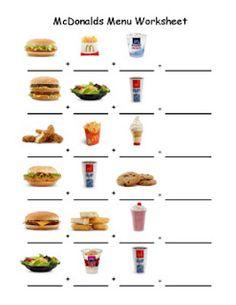 Life Skills - Menu worksheet to go along with menu!