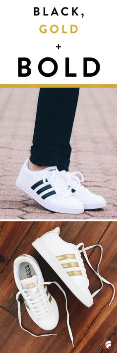 Dare to be bold - one step at a time. These iconic adidas styles feature the classic three-stripe look that goes well with any outfit. These sneakers have a leather and synthetic upper in a casual athletic sneaker style, lace up front and smooth lining with a cushioning insole for comfortable all-day wear.