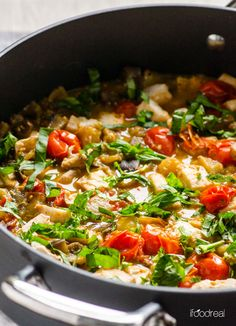 Easy Fish and Vegetables Skillet -- Tuna, eggplant and cherry tomatoes simmered in a delicious sauce with Tabasco and topped with fresh basil. Quick gluten free and paleo weeknight dinner.