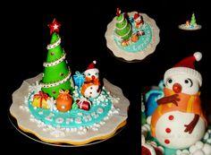 Cake topper  tema inverno , pasta di zucchero e ciccolato plastico