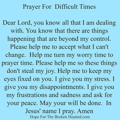 Prayer for Stress and Anxiety (Relationship Prayer) Prayer For Difficult Times, Prayer Times, Prayer Scriptures, Bible Prayers, Faith Prayer, God Prayer, Difficult Times Quotes, Deliverance Prayers, Exam Prayer