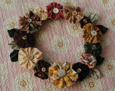 Button & Flower wreath, fall decoration, fabric wreath