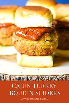 These Cajun Turkey Boudin Sliders with homemade Spicy Cajun Pesto Ketchup are the perfect handheld snack or appetizer for your next gathering. Boudin Sausage, Cajun Sausage, Cajun Turkey, Smoked Turkey, Creole Recipes, Cajun Recipes, Appetizer Recipes, Appetizers, Sandwich Recipes