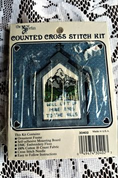 Vintage 1980s Counted Cross Stitch Ornament Kit- The New Berlin Company Made in USA Religious- Lift up mine eyes- Designed by Carole Rodgers by TheHartyHoca on Etsy