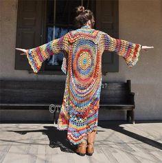 "Crochet Hippie Sweater, Hippie Sweater, Bohemian Hippie sweater, Hippie Vest, ""Rock a Little""-Stevie Nicks style 70s Hippie, Hippie Bohemian, Crochet Hippie, Gilet Long, Style Boho, Cotton Texture, Vest Pattern, Boho Outfits, Crochet Clothes"