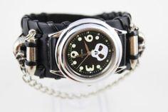 Amazon.com: Retro punk rocker skull style wrist watch leather cuff bracelet: Health & Personal Care