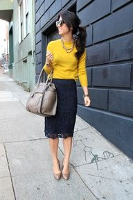 yellow sweater + navy blue lace skirt + nude shoes.. rockin' it
